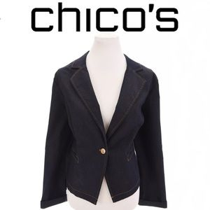 Chico's Refined Blue Denim Work Stretch Blazer
